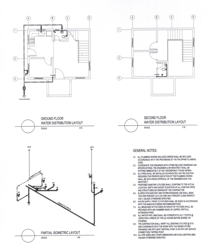 PL 01 water distribution layout, sanitary & storm layout, diagram ...